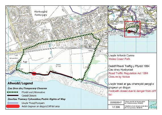 Coastal path closure at Rhoose – Council issues an update